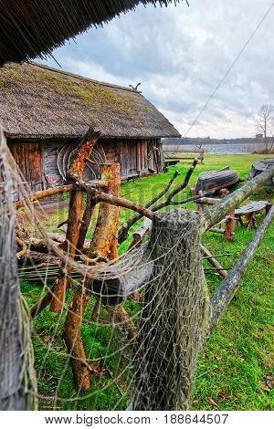 Fishing Net On Fence In Ethnographic Open Air Village Riga