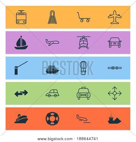 Shipping Icons Set. Collection Of Cargo Cart, Sailboat, Streetcar And Other Elements. Also Includes Symbols Such As Safety, Lifebuoy, Flight.