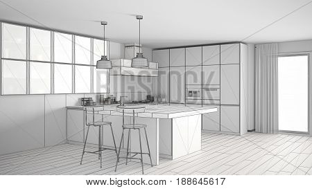 Unfinished project of modern kitchen with big window sketch abstract interior design, 3d illustration