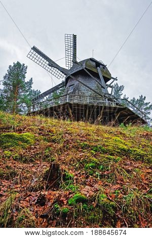 Old Wooden Windmill In Ethnographic Open Air Village In Riga