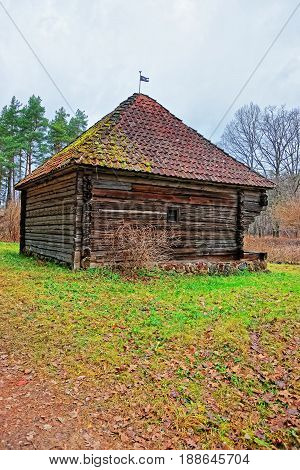 Old Traditional Wooden House At Ethnographic Village In Riga