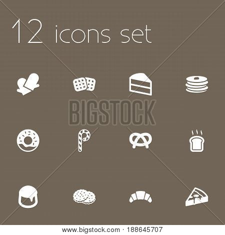 Set Of 12 Pastry Icons Set.Collection Of Potholders, Pastry, Snack And Other Elements.