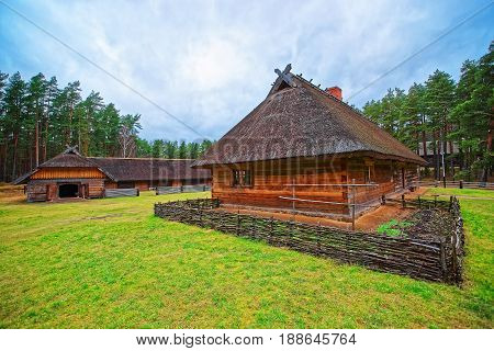 Old Buildings In Ethnographic Open Air Village Of Riga