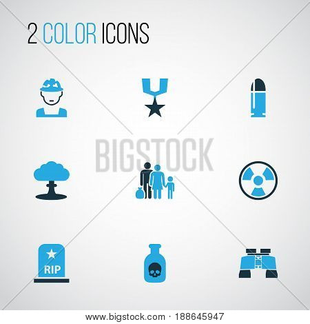 Warfare Colorful Icons Set. Collection Of Poison, Medal, Bullet And Other Elements. Also Includes Symbols Such As Explosion, Humans, Toxic.