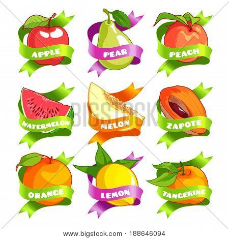 Nine stickers with ribbon and different fruits. Apple pear peach watermelon melon zapote orange lemon and tangerine. Vector illustration isolated on a white background.