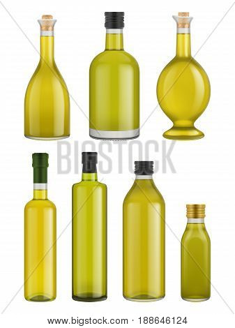 Olive oil bottle glass isolated on white background. Vector packaging mockup with realistic bottle. Olive oil bottle glass set. Olive oil bottle different size. Vector olive oil