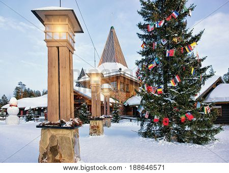 Santa Claus Office With Snowman In Santa Village Lapland