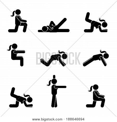 Exercises body workout stretching woman stick figure. Healthy life style vector pictogram