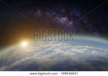 Earth and milky way galaxy. galaxy at night