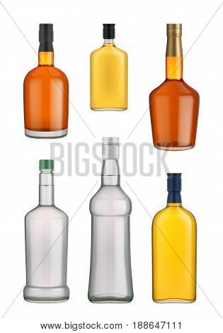 Cognac, whiskey and brandy glass bottle vector isolated on white background. Vector packaging mockup with realistic bottle. Cognac, whiskey and brandy bottle glass set. Cognac, whiskey and brandy bottles different size.