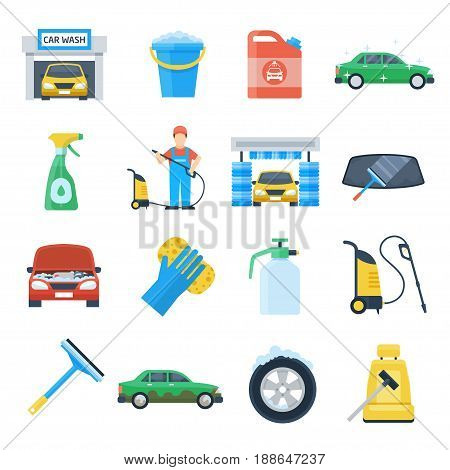 Professional carwash object colorful set, high-tech equipment and quality service. Vector flat style cartoon illustration isolated on white background