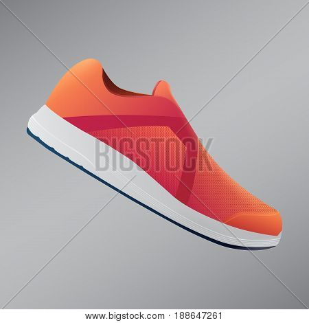 Shoes Design.  Running Shoes. Vector Illustration.  Orange Sneakers. Sport Shoes.