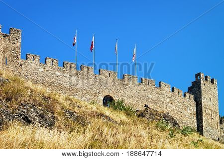 Stone Walls Of Tourbillon Castle In Sion Valais Of Switzerland
