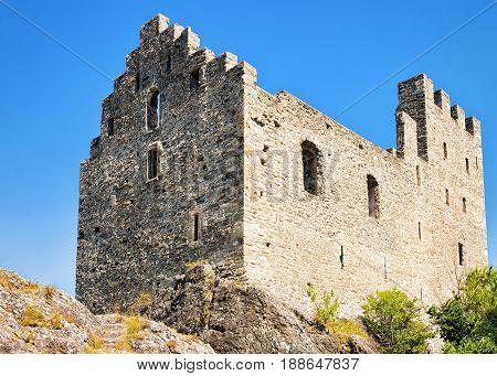 Stone Ruins Of Tourbillon Castle In Sion Valais Switzerland