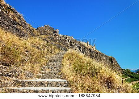 Stairs At Tourbillon Castle In Sion Valais Switzerland