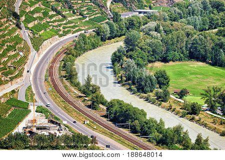 Sion Landscape An Rhone River
