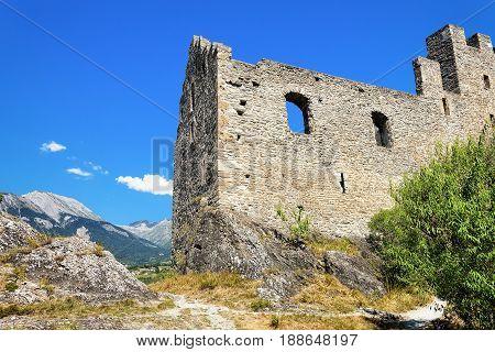 Ruins Of Tourbillon Castle On Hill Of Sion Valais Switzerland