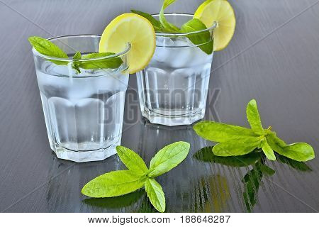Fresh mint. Water in glass. Lemon and mint. Refreshing drink. Detoxification