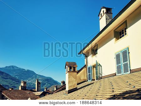 Roof And Chimneys Of Buildings In Sion Valais Switzerland