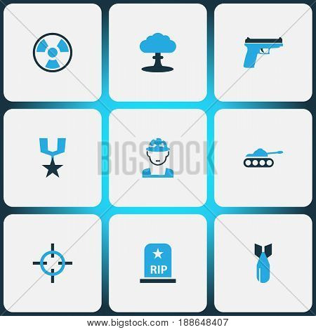 Combat Colorful Icons Set. Collection Of Tank, Bio Hazard, Explosion And Other Elements. Also Includes Symbols Such As Rifle, Tank, Bio.