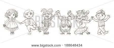 Paper dolls. Vector illustration on white background