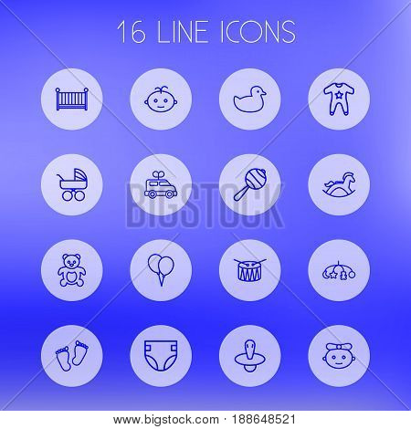 Set Of 16 Kid Outline Icons Set.Collection Of Carriage, Rattles, Teddy And Other Elements.