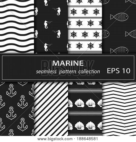A set of paintings. Eight pieces of paintings on the marine theme. Cruise, vacation, sea, summer. Grey and white background. Seamless fabric. Stock vector