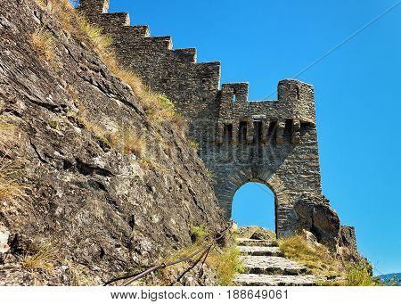 Entrance Gate Into Tourbillon Castle In Sion Valais Switzerland