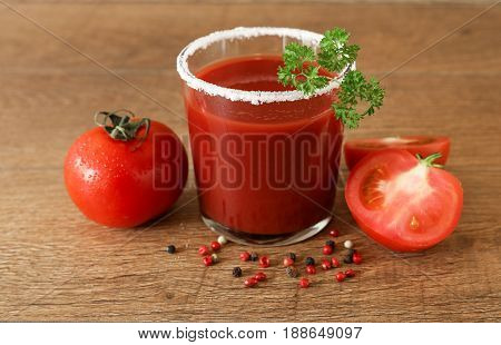 Tomato Juice, Tomatoes, Spices On A Wooden Background.