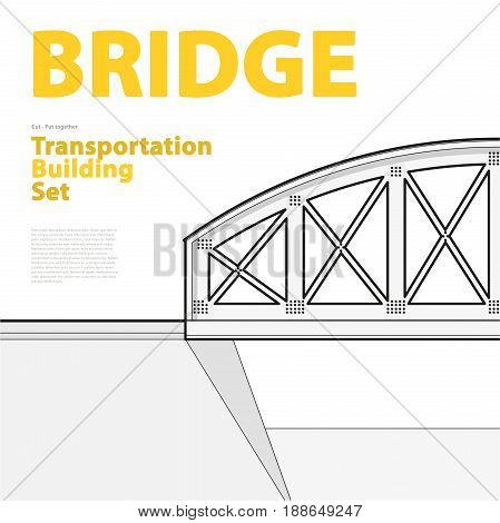 Outline set of vector arched train bridge in side view. Isolated industrial transportation building. Metallic bridge architecture. Typography layout, railway arc bridge. Assembled bridge construction.