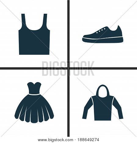 Garment Icons Set. Collection Of Sarafan, Sweatshirt, Sneakers And Other Elements. Also Includes Symbols Such As Sundress, Sweatshirt, Wear.