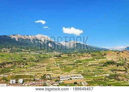 Bernese Alps Mountains And Landscape Of Sion Valais Switzerland