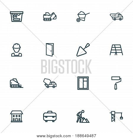 Industry Outline Icons Set. Collection Of Excavator, House, Bulldozer And Other Elements. Also Includes Symbols Such As Tower, Can, Cement.