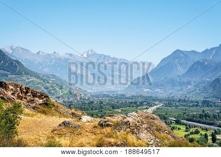 Bernese Alps Mountains And Landscape In Sion Valais Switzerland