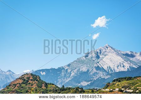 Bernese Alps Mountain And Landscape In Sion Valais Switzerland