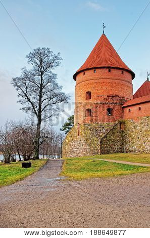 Tower In Trakai Island Castle Museum At Day Time