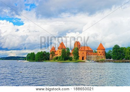 People And Sailing Boats In Galve Lake Trakai Island Castle
