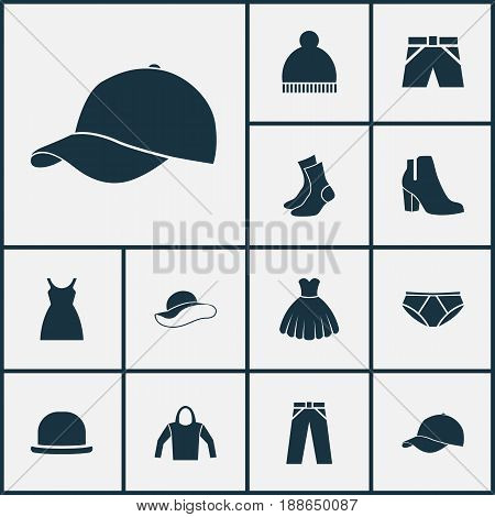 Dress Icons Set. Collection Of Female Winter Shoes, Briefs, Trilby And Other Elements. Also Includes Symbols Such As Garment, Trunks, Boots.
