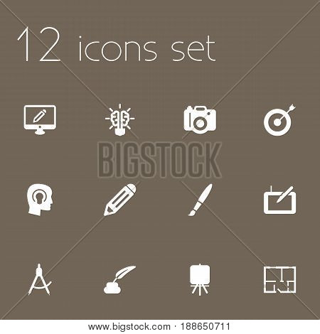 Set Of 12 Constructive Icons Set.Collection Of Pen, Compass, Scheme And Other Elements.
