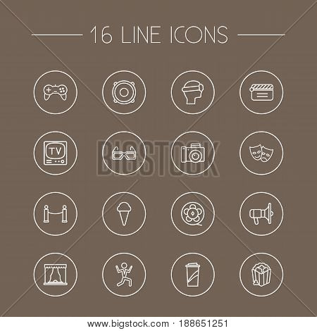 Set Of 16 Entertainment Outline Icons Set.Collection Of Film Role, Game Controller, Barrier Rope And Other Elements.