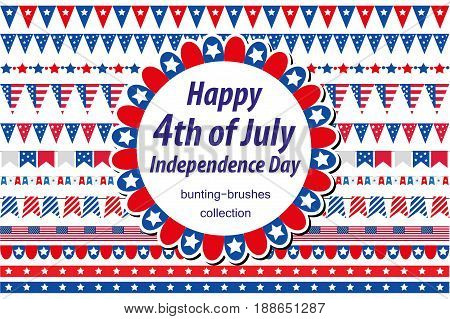 American Independence Day, celebration in USA. Set borders, bunting, flags, garland. Collection of decorative elements for July 4th national holiday. Vector illustration, clip art