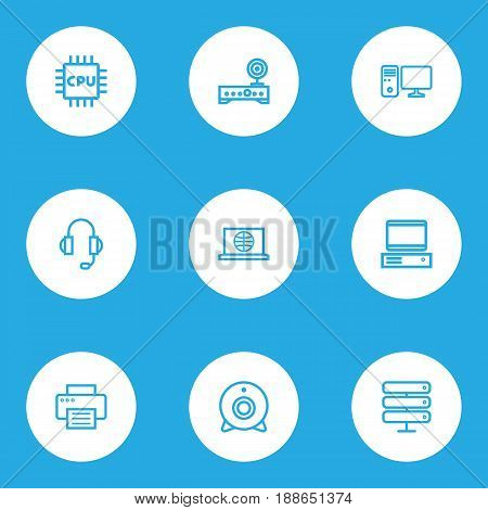 Hardware Outline Icons Set. Collection Of PC, Earphones, Datacenter And Other Elements. Also Includes Symbols Such As Wifi, Access, Internet.