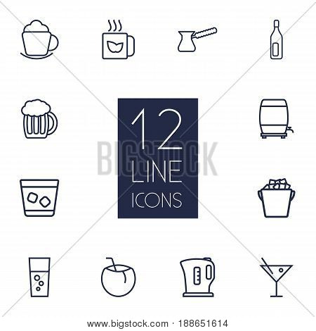 Set Of 12  Outline Icons Set.Collection Of Kettle, Beer, Green And Other Elements.