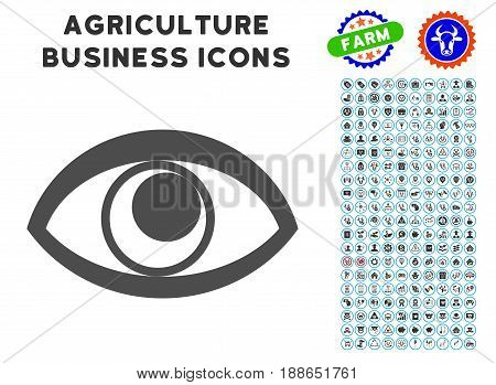 Eye gray icon with agriculture commercial icon collection. Vector illustration style is a flat iconic symbol. Agriculture icons are rounded with blue circles. Designed for web and software interfaces.