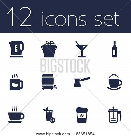 Set Of 12 Beverages Icons Set.Collection Of Cream, Fridge, Hot And Other Elements.