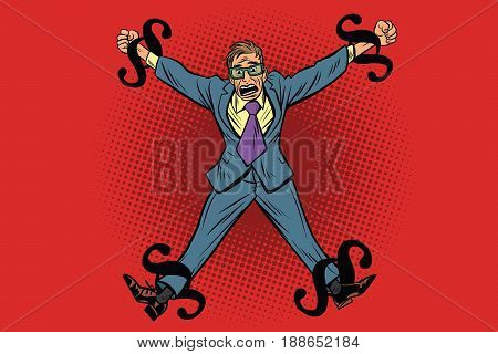 Businessman chained in legal rules, paragraphs as chain. Cartoon comic illustration pop art retro style vector