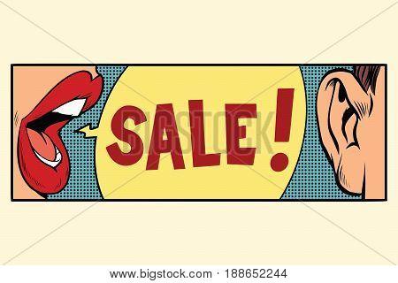 Rumors about a sale, pop art concept. Cartoon comic illustration retro style vector