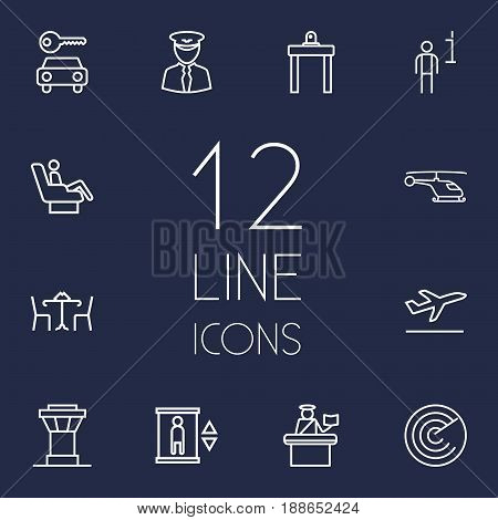 Set Of 12 Airplane Outline Icons Set.Collection Of Detection, Flight, Elevator And Other Elements.