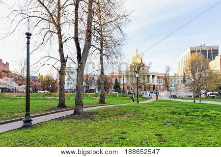 State Library Of Massachusetts And People In Boston Common Park