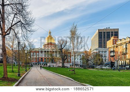 State Library Of Massachusetts And People At Boston Common Park
